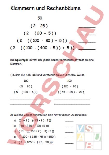 arbeitsblatt klammern und rechenb228ume mathematik
