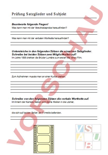 Arbeitsblatt: Text Satzglieder, verbale Wortkette und Subjekt ...