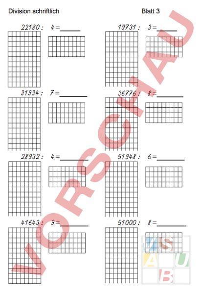 arbeitsblatt schriftliche division 4 klasse mathematik division. Black Bedroom Furniture Sets. Home Design Ideas