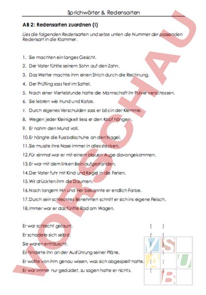 www.unterrichtsmaterial.ch - Deutsch - Wortschatz - Sprichwörter und ...