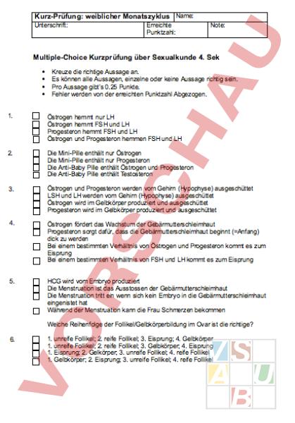 Arbeitsblatt: Prüfung Multiple Choice weiblicher Zyklus ...