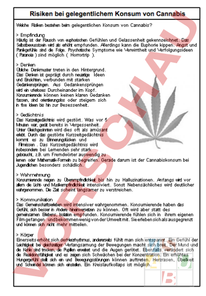 Arbeitsblatt: Cannabis Vortragsmaterial für S - Lebenskunde - Drogen ...