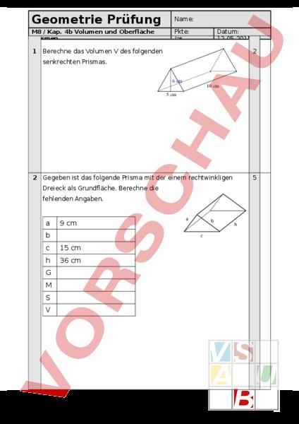 Arbeitsblatt: M8 4b Prisma berechnen Prüfung - Geometrie - Körper ...