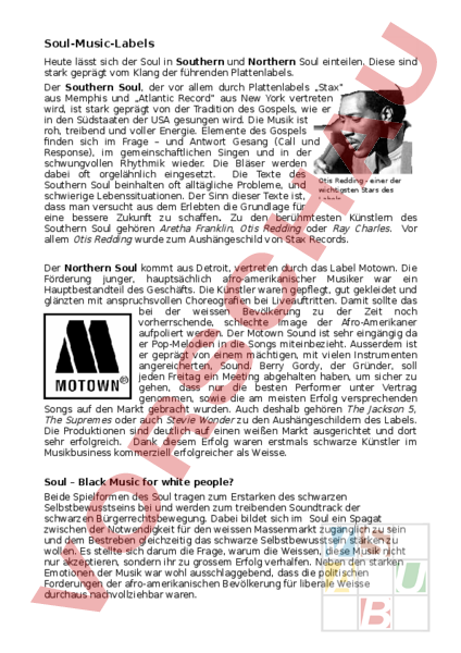 Arbeitsblatt: Soul Geschichte - Musik - Musikgschichte
