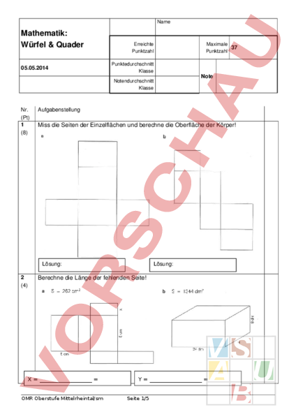 arbeitsblatt test w rfel und quader geometrie k rper. Black Bedroom Furniture Sets. Home Design Ideas