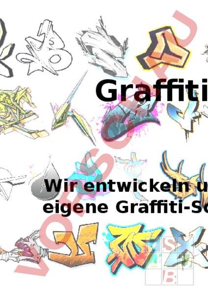 arbeitsblatt projektwoche powerpoint graffiti bildnerisches gestalten farbe. Black Bedroom Furniture Sets. Home Design Ideas