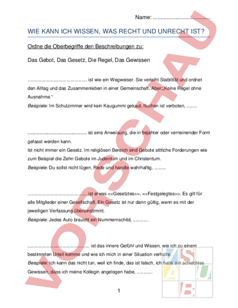 www.unterrichtsmaterial.ch - Lebenskunde - Ethik / Moral - Was ist ...