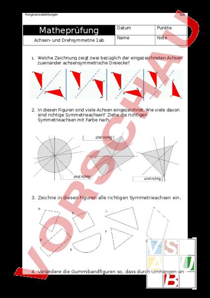 arbeitsblatt achsen drehsymmetrie pr fung geometrie symmetrien. Black Bedroom Furniture Sets. Home Design Ideas