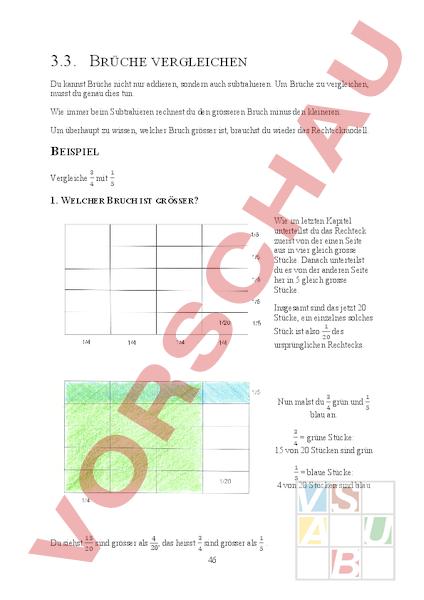 arbeitsblatt theorieheft zum zahlenbuch 6 kap 3 3 br che vergleichen mathematik br che. Black Bedroom Furniture Sets. Home Design Ideas