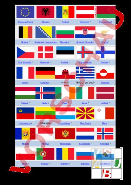 arbeitsblatt flaggen der l nder europas geographie europa. Black Bedroom Furniture Sets. Home Design Ideas