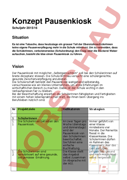 Arbeitsblatt: Pausenkiosk - Administration / Methodik - Gemischte Themen