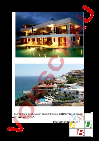 Arbeitsblatt: Lehrprobe: living and working in California - Englisch ...