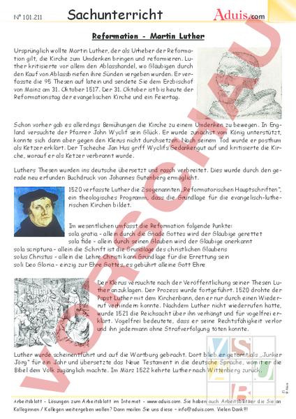 Arbeitsblatt Martin Luther Geschichte Anderes Thema