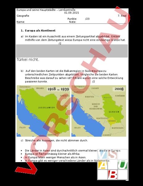 Arbeitsblatt: Lernkontrolle Europa und seine Hauptstädte ...