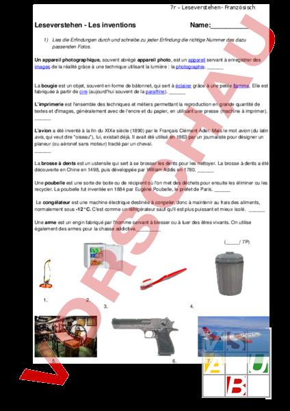 Arbeitsblatt: Leseverstehen Inventions - Französisch - Textverständnis
