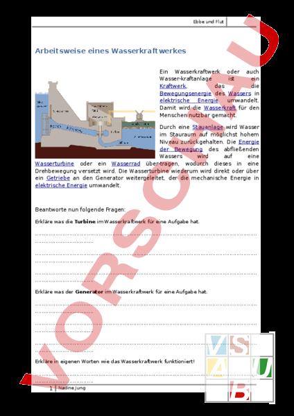 Arbeitsblatt: Ebbe und Flut - Geographie - Europa