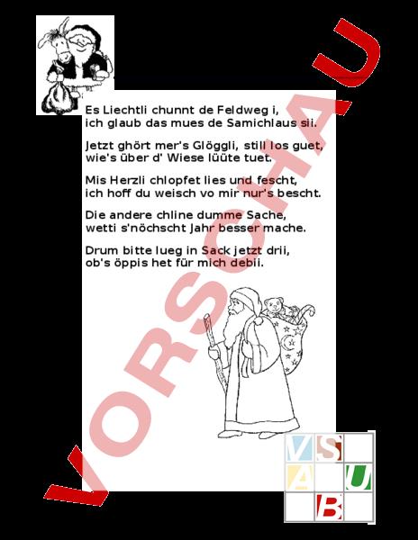 Arbeitsblatt: Samichlaus Gedicht - Deutsch - Anderes Thema