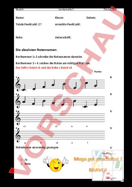 Arbeitsblatt: Musik Lernkontrolle absoluten Notennamen - Musik ...