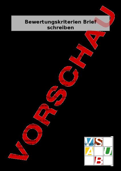 Arbeitsblatt Brief Kriterien Deutsch Texte Schreiben