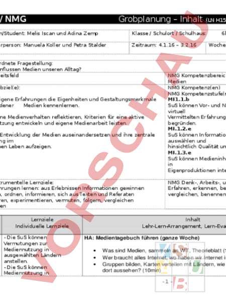 Arbeitsblatt: Grobplanung M&U Medien - Geographie - Gemischte Themen