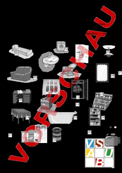 arbeitsblatt around the house matching exercise englisch wortschatz. Black Bedroom Furniture Sets. Home Design Ideas