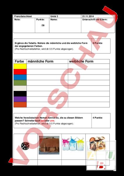 arbeitsblatt franztest envol 5 unit 3 franz sisch wortschatz. Black Bedroom Furniture Sets. Home Design Ideas