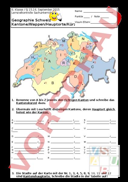 arbeitsblatt geografie ch 6 klasse kantone und wappen lernkontrolle geographie schweiz. Black Bedroom Furniture Sets. Home Design Ideas
