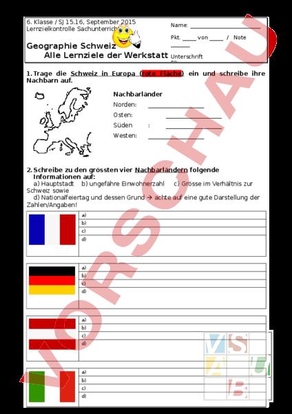 www.unterrichtsmaterial.ch - Geographie - Schweiz - Geografie CH, 6 ...