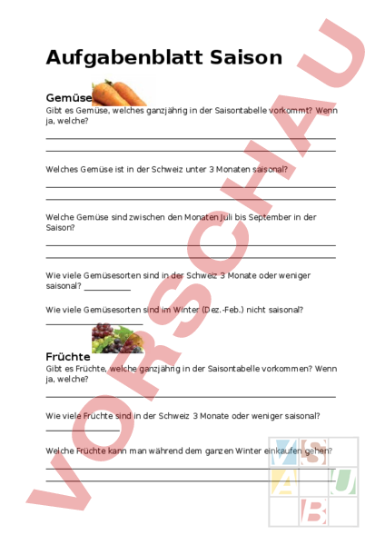 Arbeitsblatt: Saison Gemüse & Früchte - Wirtschaft, Arbeit, Haushalt ...