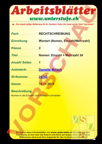 www.unterrichtsmaterial.ch - Deutsch - Lehrmittel - Einzahl merzahl ...
