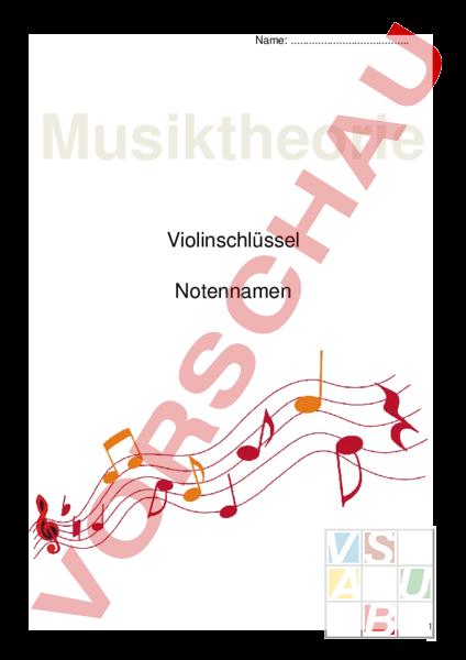 Arbeitsblatt: Notennamen und Notenschlüssel - Musik - Musiktheorie ...