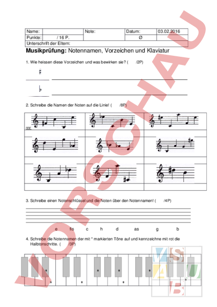 Arbeitsblatt: Musikprüfung - Musik - Musiktheorie / Noten