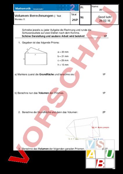 arbeitsblatt test prisma volumen geometrie k rper figuren. Black Bedroom Furniture Sets. Home Design Ideas