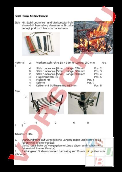 arbeitsblatt grill zum mitnehmen werken handarbeit metall. Black Bedroom Furniture Sets. Home Design Ideas