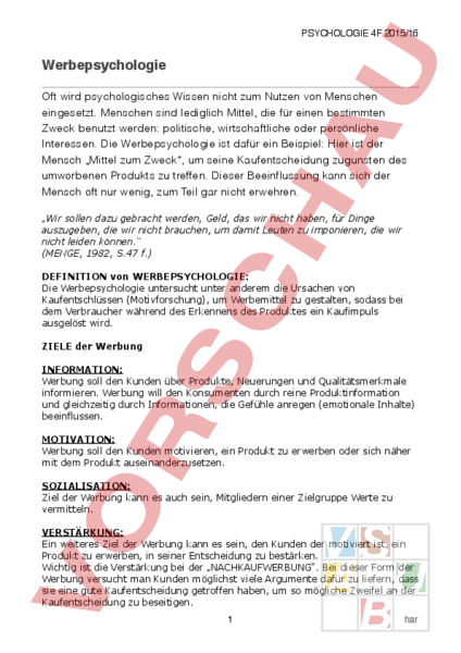 Arbeitsblatt: Werbepsychologie - Pädagogik und Psychologie ...