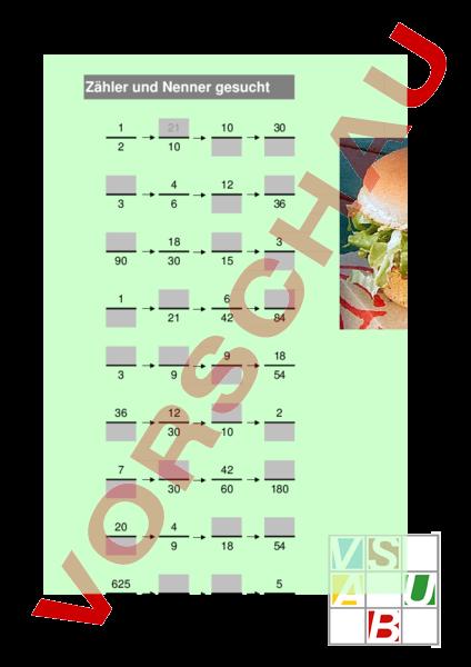 www.unterrichtsmaterial.ch - Mathematik - Brüche / Dezimalzahlen - Findest du Zähler und Nenner ...