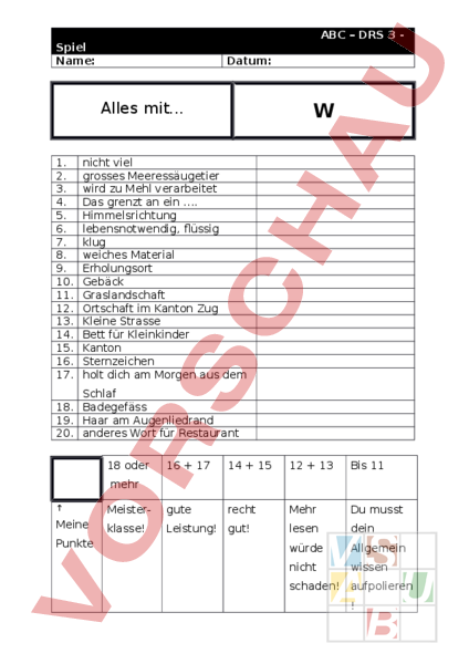 Arbeitsblatt: ABC Spiel Buchstabe W - Deutsch - Wortschatz