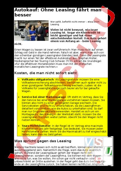 Arbeitsblatt: Schuldentag Leasing eines Autos - Diverses ...