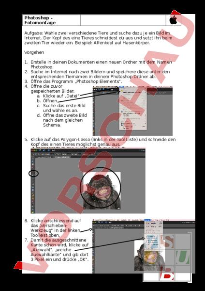 Arbeitsblatt: Photoshop - Informatik - Anderes Thema