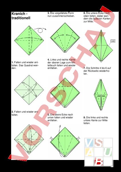 Arbeitsblatt Origami Kranich Bildnerisches Gestalten Anderes Thema