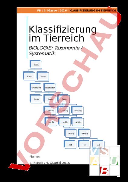 Arbeitsblatt: Taxonomie/Klassifiezierung Tierreich - Biologie - Tiere