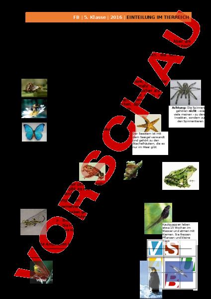 biologie tiere einteilung tierreich arbeitsbl tter. Black Bedroom Furniture Sets. Home Design Ideas