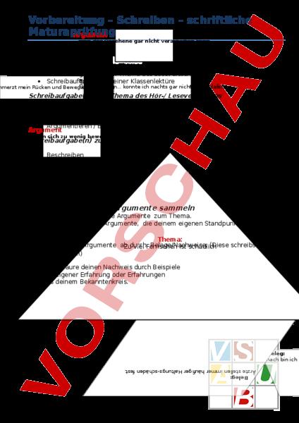 Arbeitsblatt: Aufsatz (Vorbereitung auf Matura) - Deutsch - DaZ