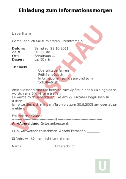Arbeitsblatt: Einladung Elternmorgen - Administration / Methodik ...