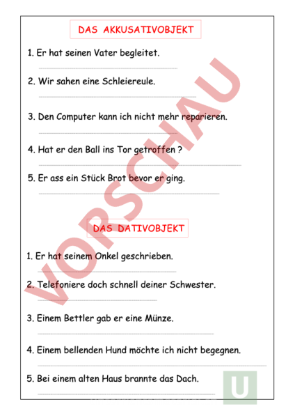 Arbeitsblatt: subjekt prädikat objekt - Deutsch - Grammatik