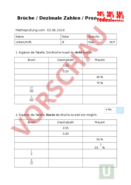 Arbeitsblatt Brüche Dezimalzahlen : Unterrichtsmaterial mathematik proportionalität