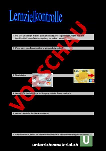www.unterrichtsmaterial.ch - Lebenskunde - Anderes Thema - Bankomat ...