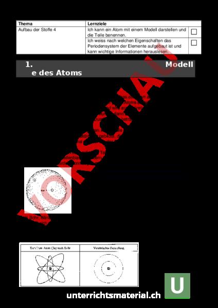 Arbeitsblatt: Aufbau Stoffe - Chemie - Elemente / Periodensystem
