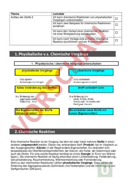 Arbeitsblatt: Aufbau Stoffe 4 - Chemie - Reaktionsgleichungen
