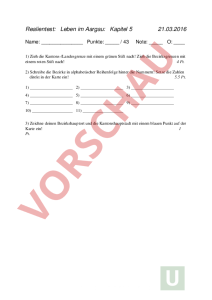 Arbeitsblatt: Leben im Aargau - Geographie - Schweiz